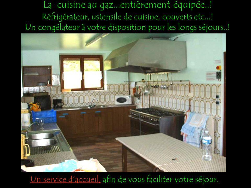 La cuisine au gaz...entièrement équipée...Réfrigérateur, ustensile de cuisine, couverts etc....