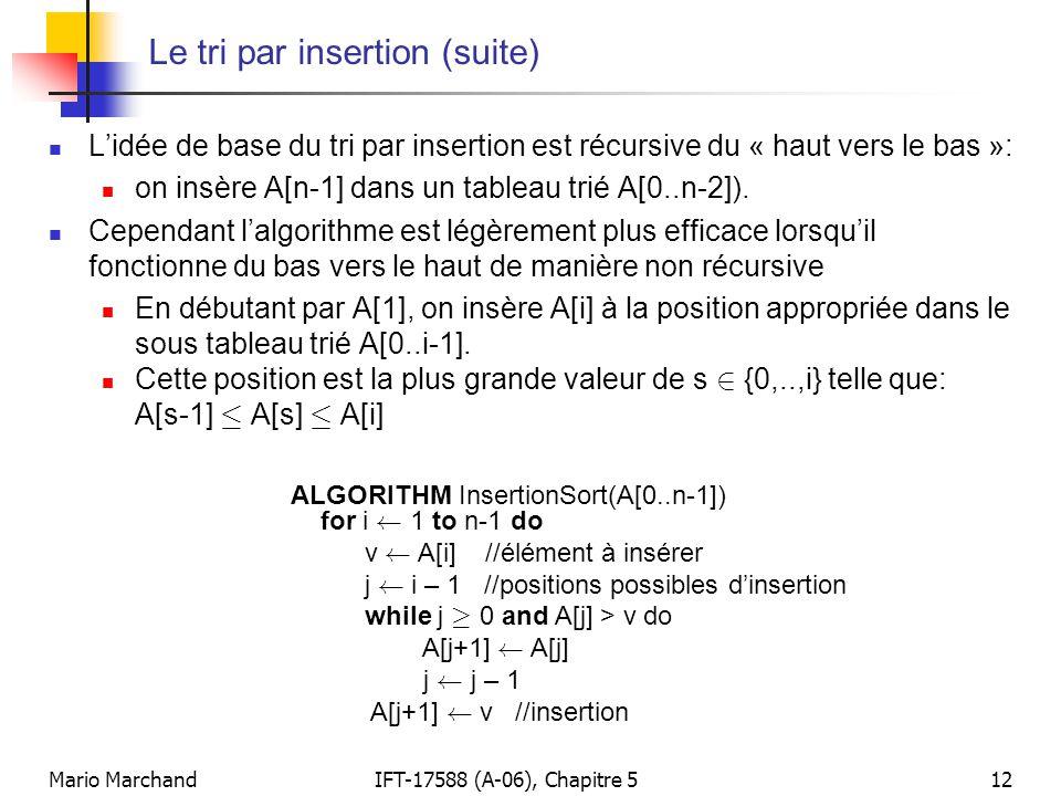 Mario MarchandIFT-17588 (A-06), Chapitre 512 Le tri par insertion (suite) Lidée de base du tri par insertion est récursive du « haut vers le bas »: on