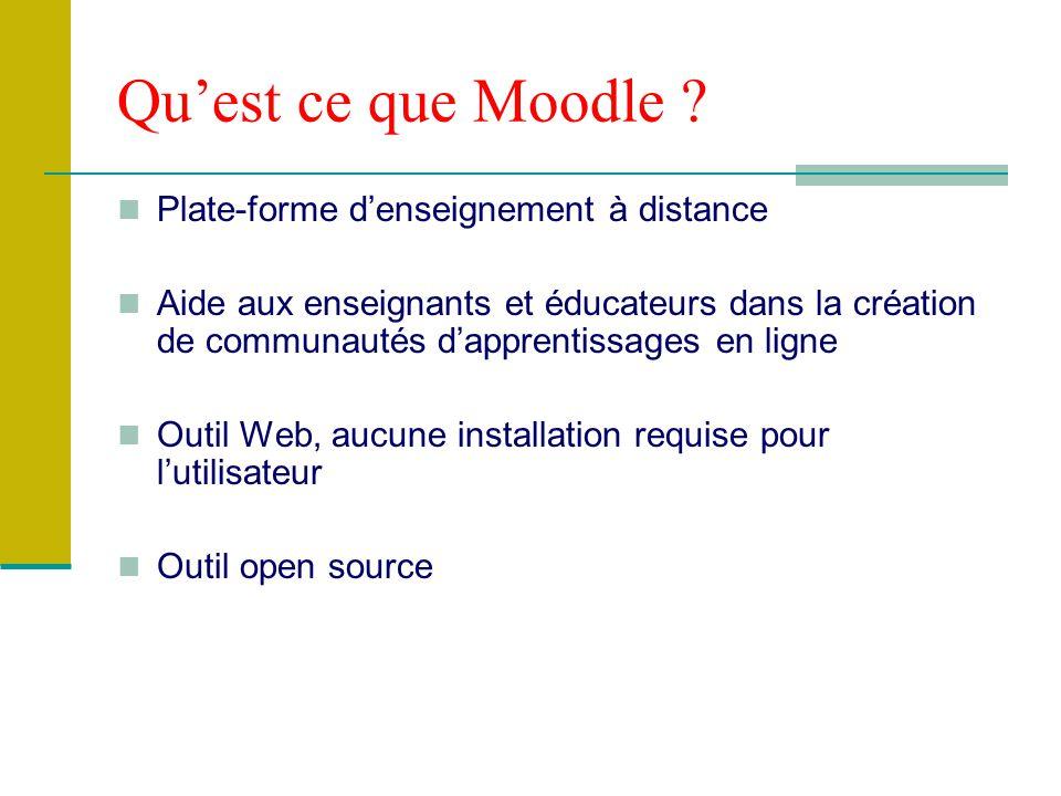 Caractéristiques de Moodle Une page est constituée de trois blocs : bloc central : les documents et les activités 2 bloc latéraux : outils, liens pour le suivi des cours P.S.