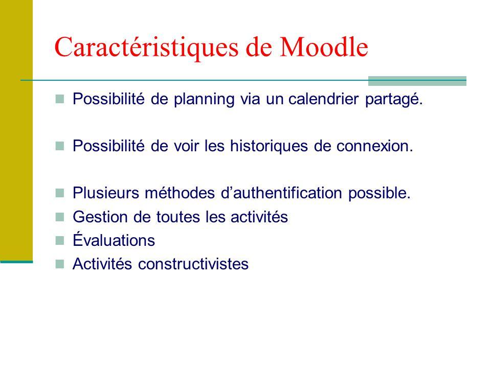 Caractéristiques de Moodle Possibilité de planning via un calendrier partagé. Possibilité de voir les historiques de connexion. Plusieurs méthodes dau