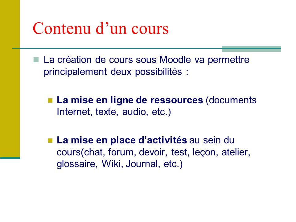 Contenu dun cours La création de cours sous Moodle va permettre principalement deux possibilités : La mise en ligne de ressources (documents Internet,