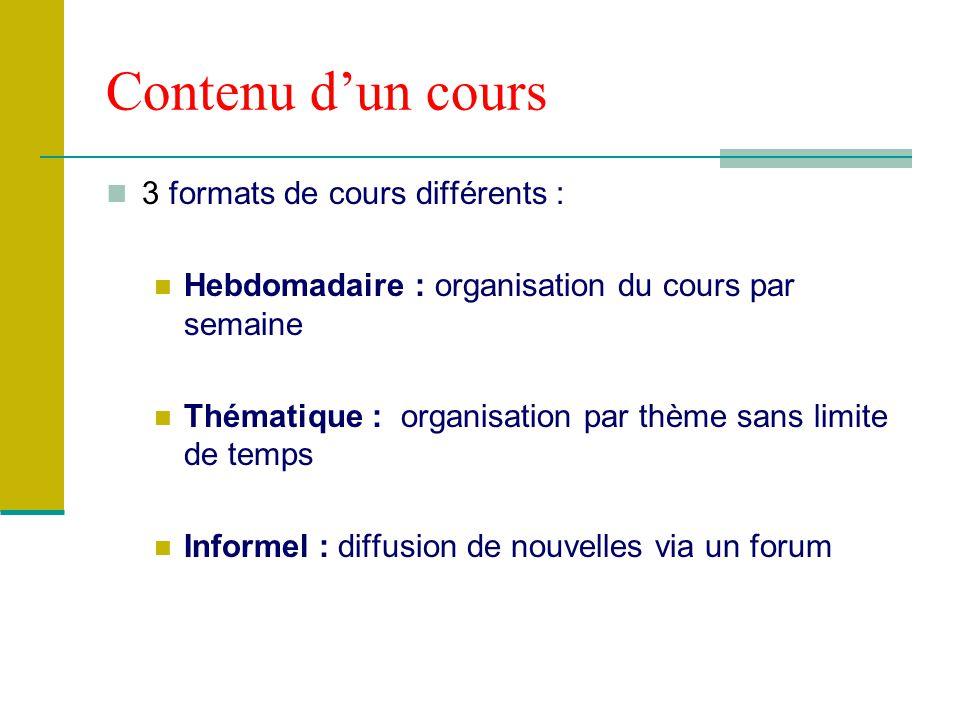 Contenu dun cours 3 formats de cours différents : Hebdomadaire : organisation du cours par semaine Thématique : organisation par thème sans limite de