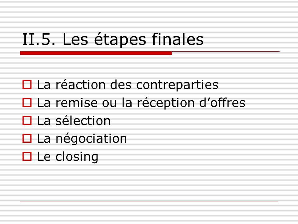 II.5. Les étapes finales La réaction des contreparties La remise ou la réception doffres La sélection La négociation Le closing
