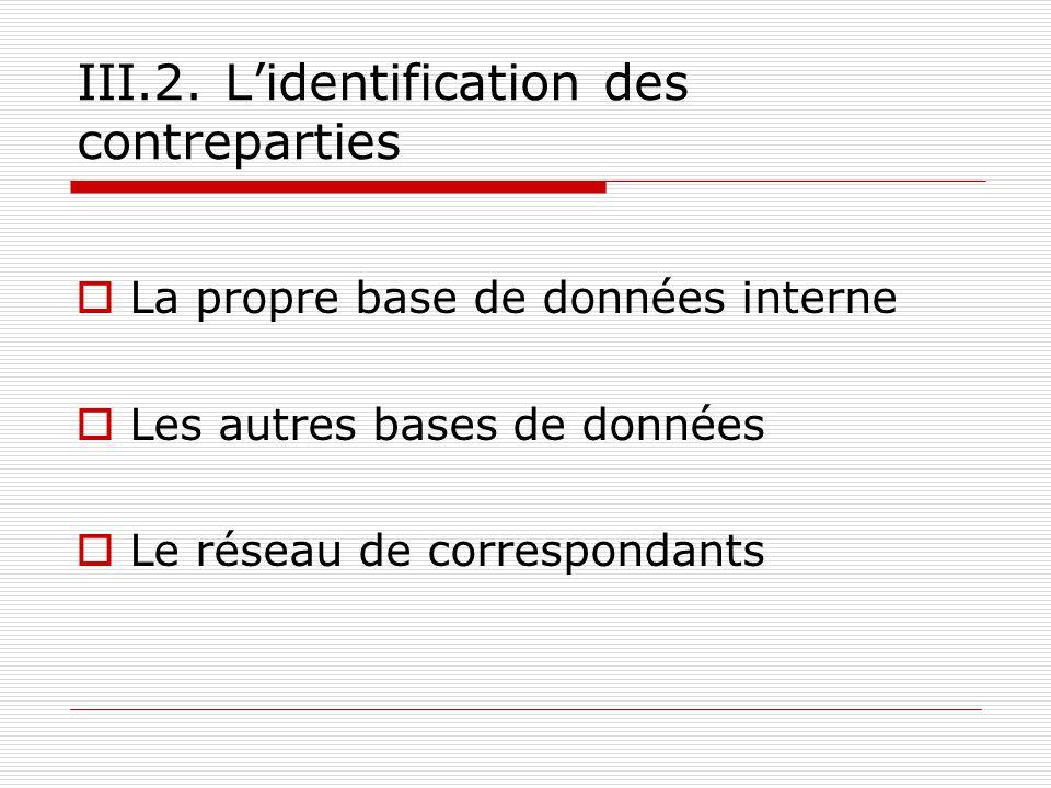 III.2. Lidentification des contreparties La propre base de données interne Les autres bases de données Le réseau de correspondants