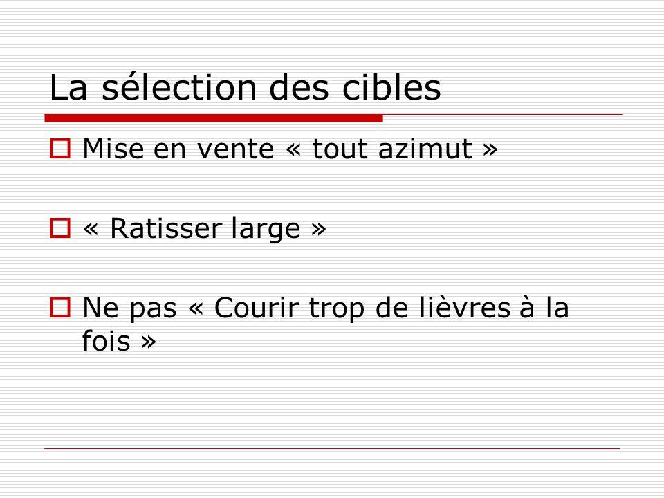 La sélection des cibles Mise en vente « tout azimut » « Ratisser large » Ne pas « Courir trop de lièvres à la fois »