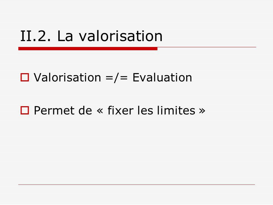 II.2. La valorisation Valorisation =/= Evaluation Permet de « fixer les limites »