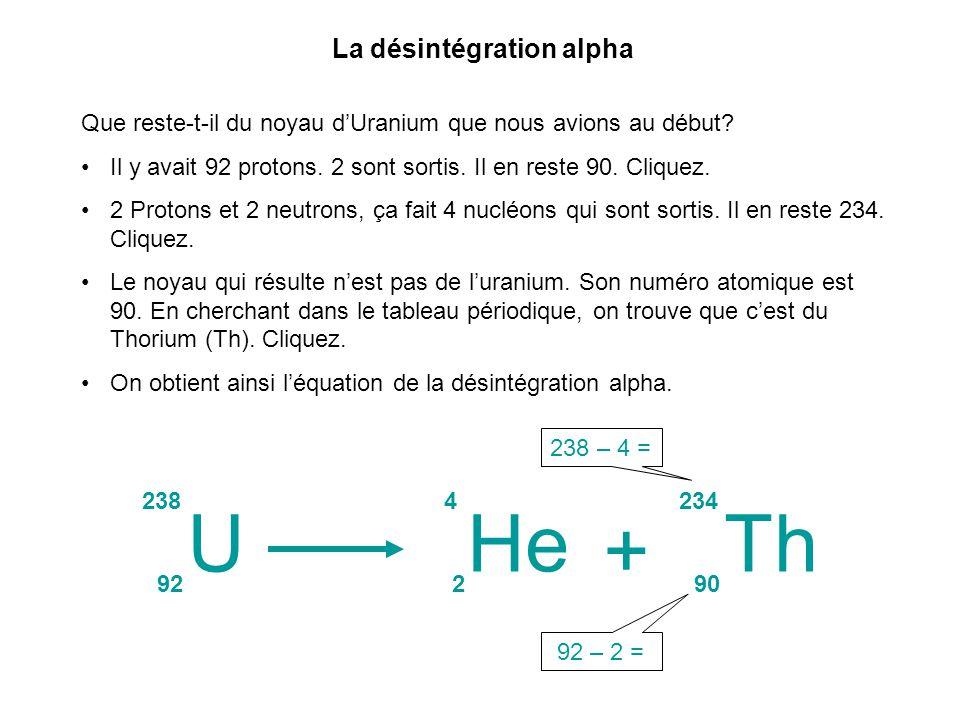 Que reste-t-il du noyau dUranium que nous avions au début? Il y avait 92 protons. 2 sont sortis. Il en reste 90. Cliquez. 2 Protons et 2 neutrons, ça