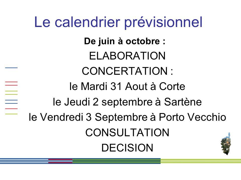 Le calendrier prévisionnel De juin à octobre : ELABORATION CONCERTATION : le Mardi 31 Aout à Corte le Jeudi 2 septembre à Sartène le Vendredi 3 Septembre à Porto Vecchio CONSULTATION DECISION
