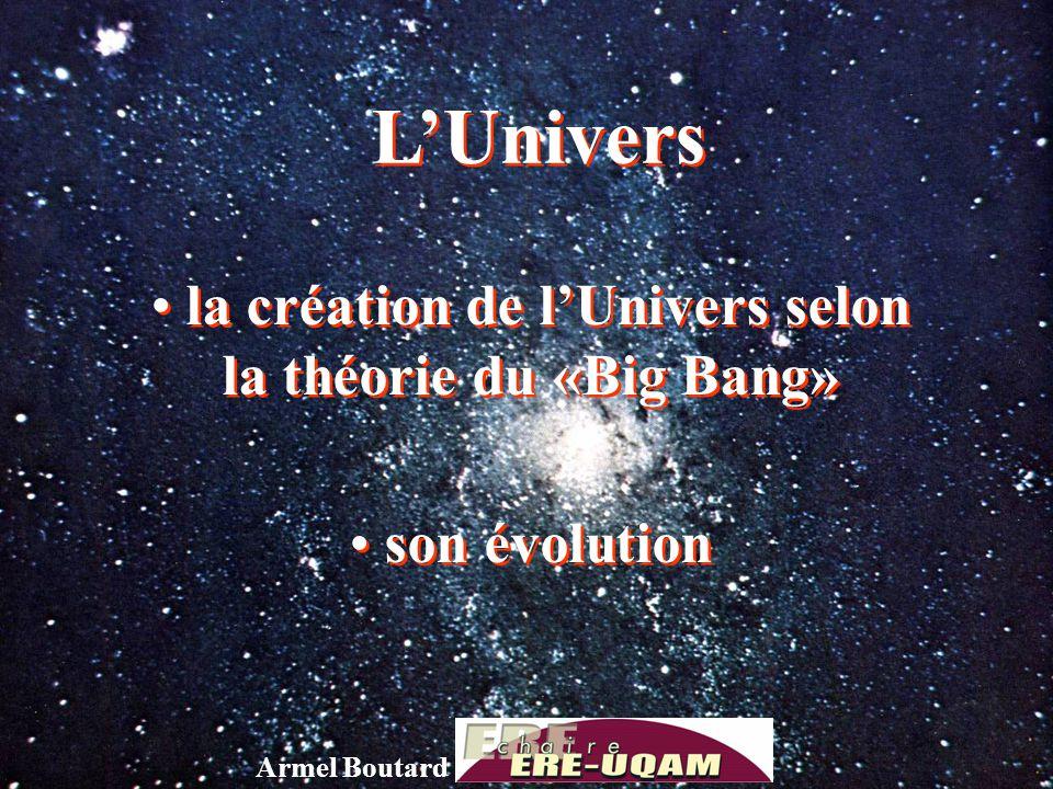 LUnivers la création de lUnivers selon la théorie du «Big Bang» son évolution la création de lUnivers selon la théorie du «Big Bang» son évolution Arm