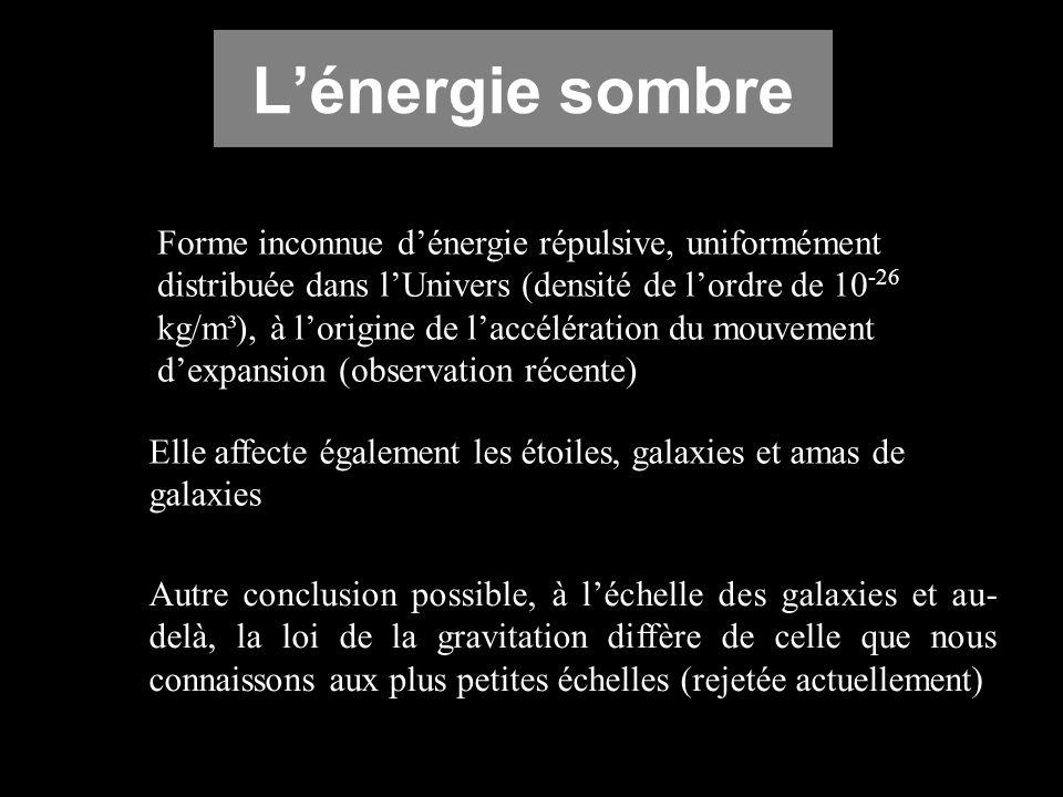Lénergie sombre Forme inconnue dénergie répulsive, uniformément distribuée dans lUnivers (densité de lordre de 10 -26 kg/m³), à lorigine de laccélérat