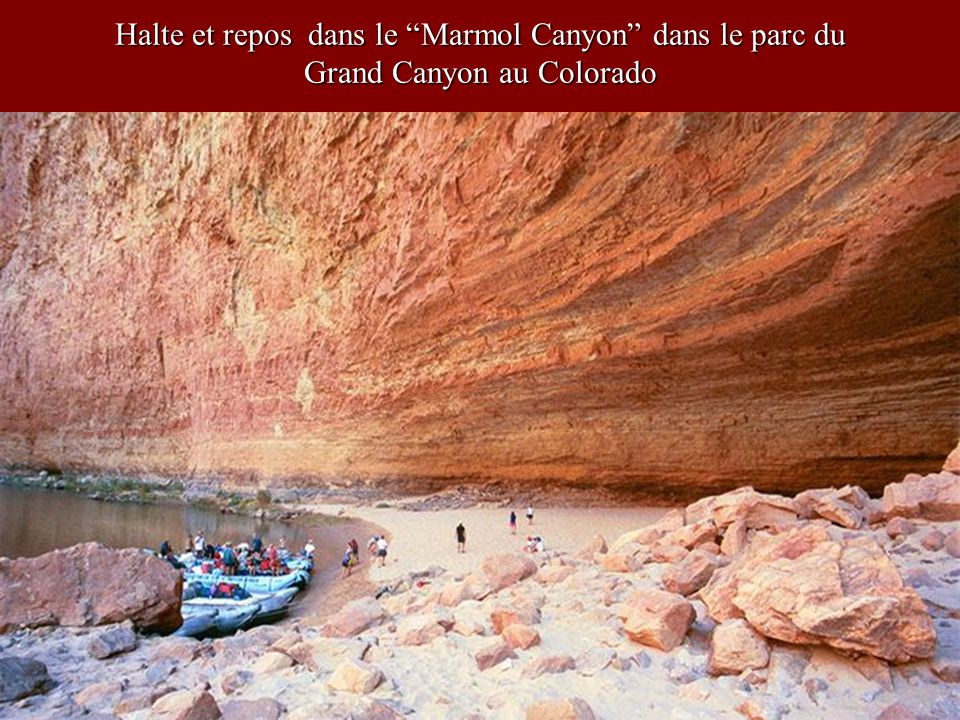 Halte et repos dans le Marmol Canyon dans le parc du Grand Canyon au Colorado