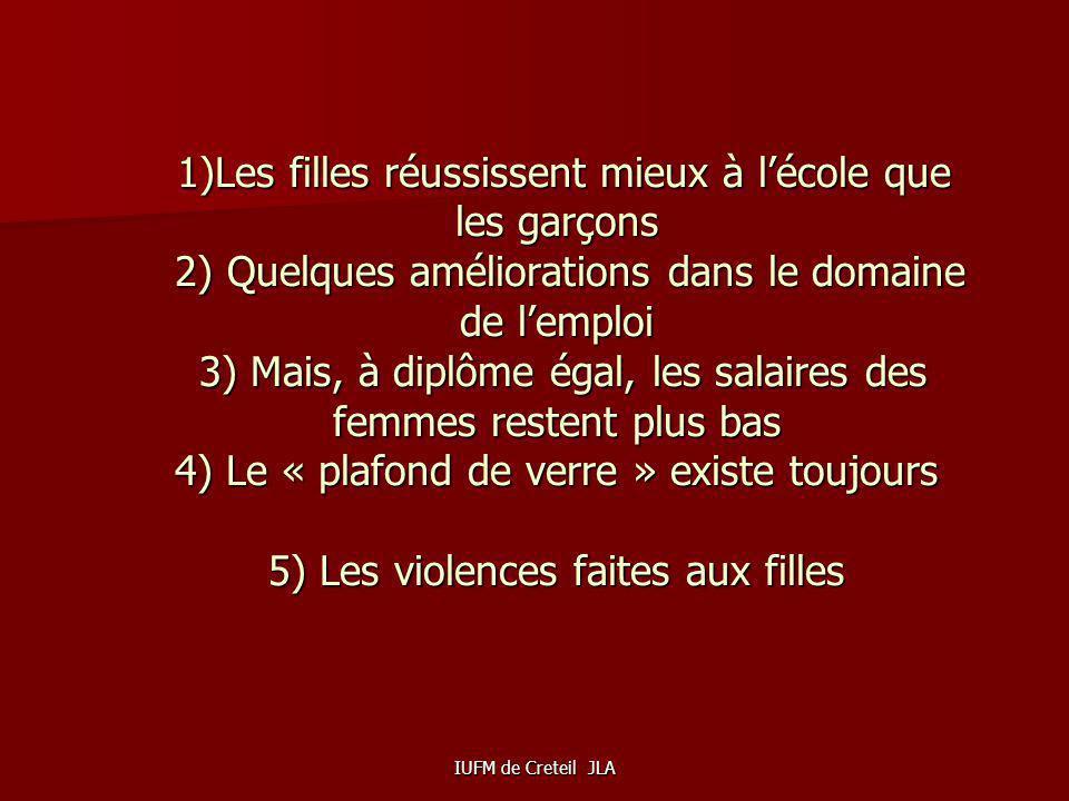 IUFM de Creteil JLA Le système éducatif français est marqué par un double paradoxe: - Les filles réussissent mieux à lécole dans tous les secteurs - L