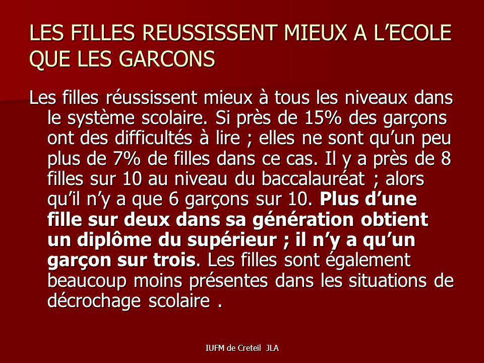 IUFM de Creteil JLA LE PLAFOND DE VERRE EXISTE TOUJOURS …..