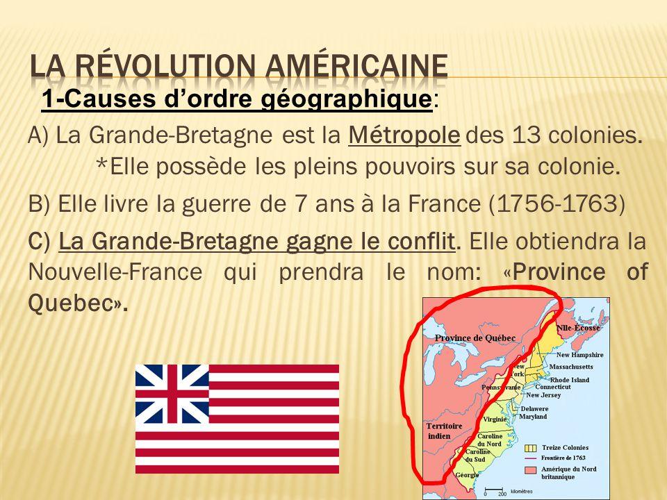 A) La Grande-Bretagne est la Métropole des 13 colonies. *Elle possède les pleins pouvoirs sur sa colonie. B) Elle livre la guerre de 7 ans à la France