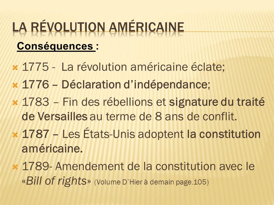 1775 - La révolution américaine éclate; 1776 – Déclaration dindépendance; 1783 – Fin des rébellions et signature du traité de Versailles au terme de 8