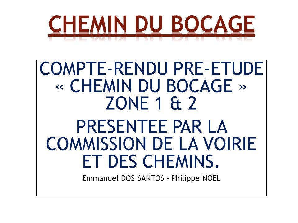 COMPTE-RENDU PRE-ETUDE « CHEMIN DU BOCAGE » ZONE 1 & 2 PRESENTEE PAR LA COMMISSION DE LA VOIRIE ET DES CHEMINS.