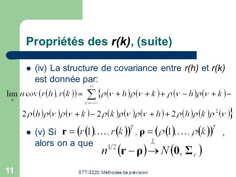 STT-3220; Méthodes de prévision 11 Propriétés des r(k), (suite) (iv) La structure de covariance entre r(h) et r(k) est donnée par: (v) Si, alors on a que