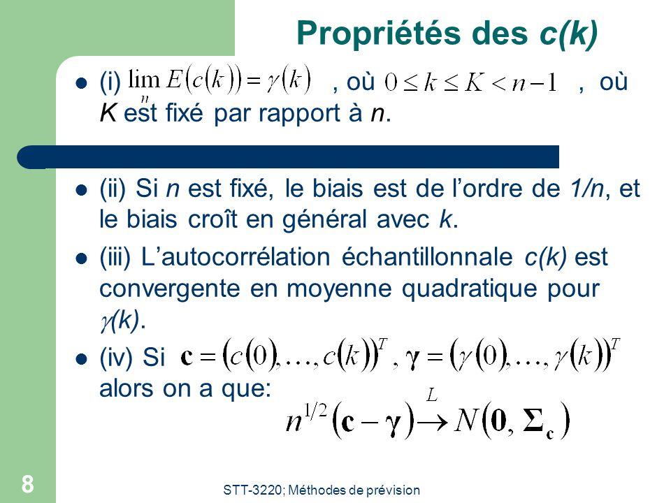 STT-3220; Méthodes de prévision 8 Propriétés des c(k) (i), où, où K est fixé par rapport à n.