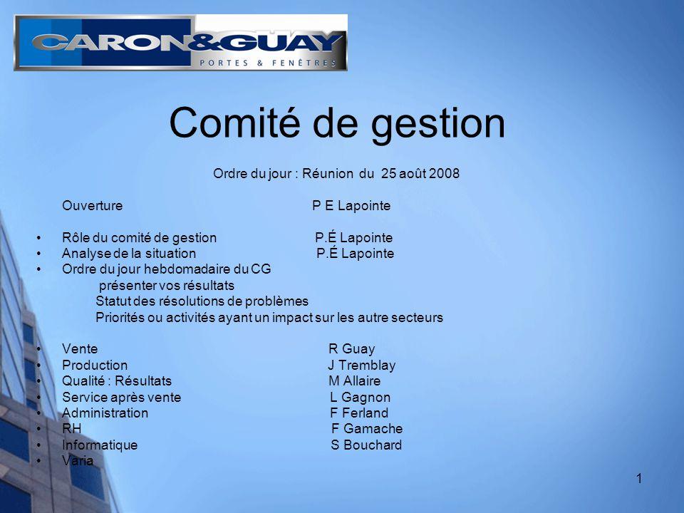 2 COMITÉ DE GESTION : Règles «Vous êtes membre du comité de gestion de Caron et Guay.