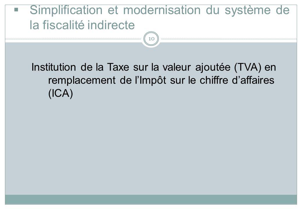 Simplification et modernisation du système de la fiscalité indirecte 10 Institution de la Taxe sur la valeur ajoutée (TVA) en remplacement de lImpôt s