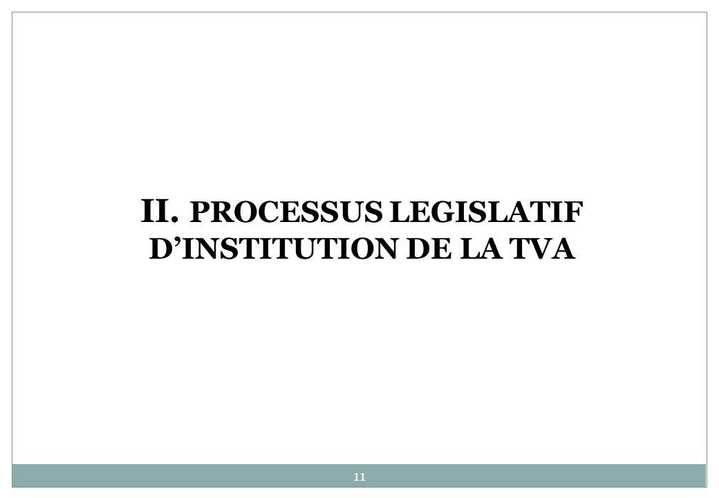 II. PROCESSUS LEGISLATIF DINSTITUTION DE LA TVA 11