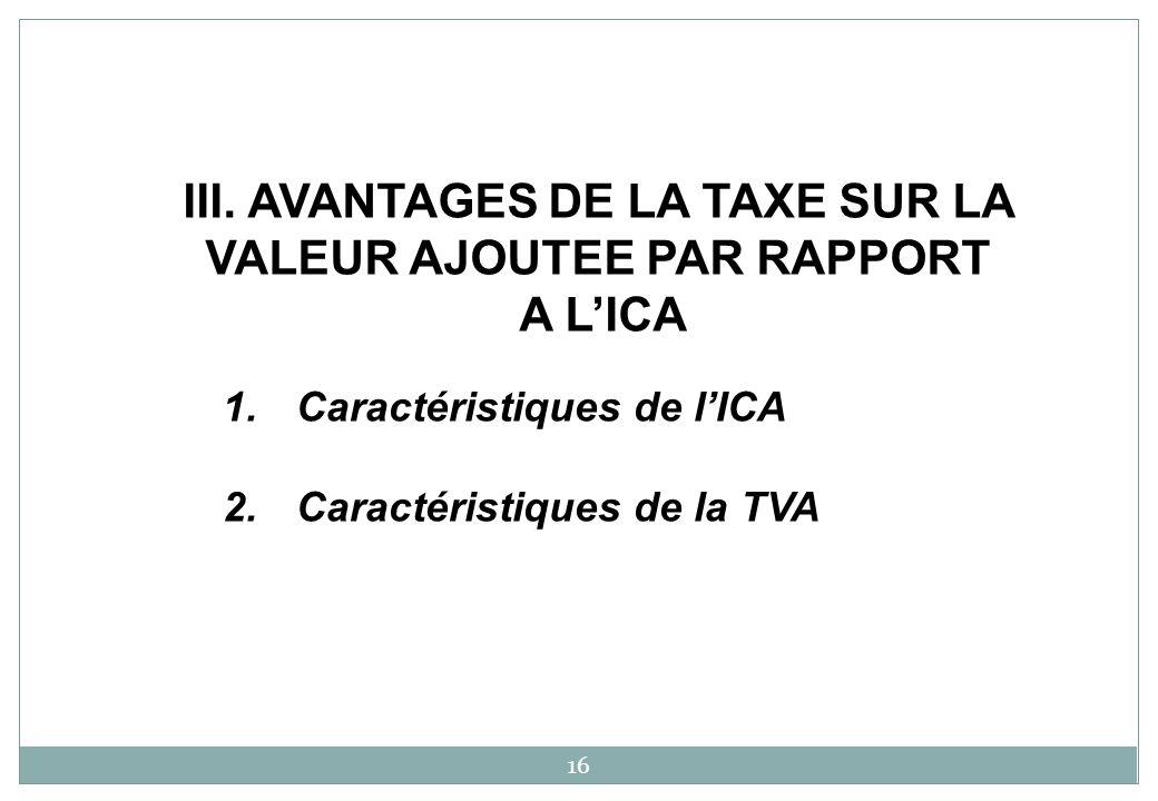 1.Caractéristiques de lICA 2.Caractéristiques de la TVA 16 III.