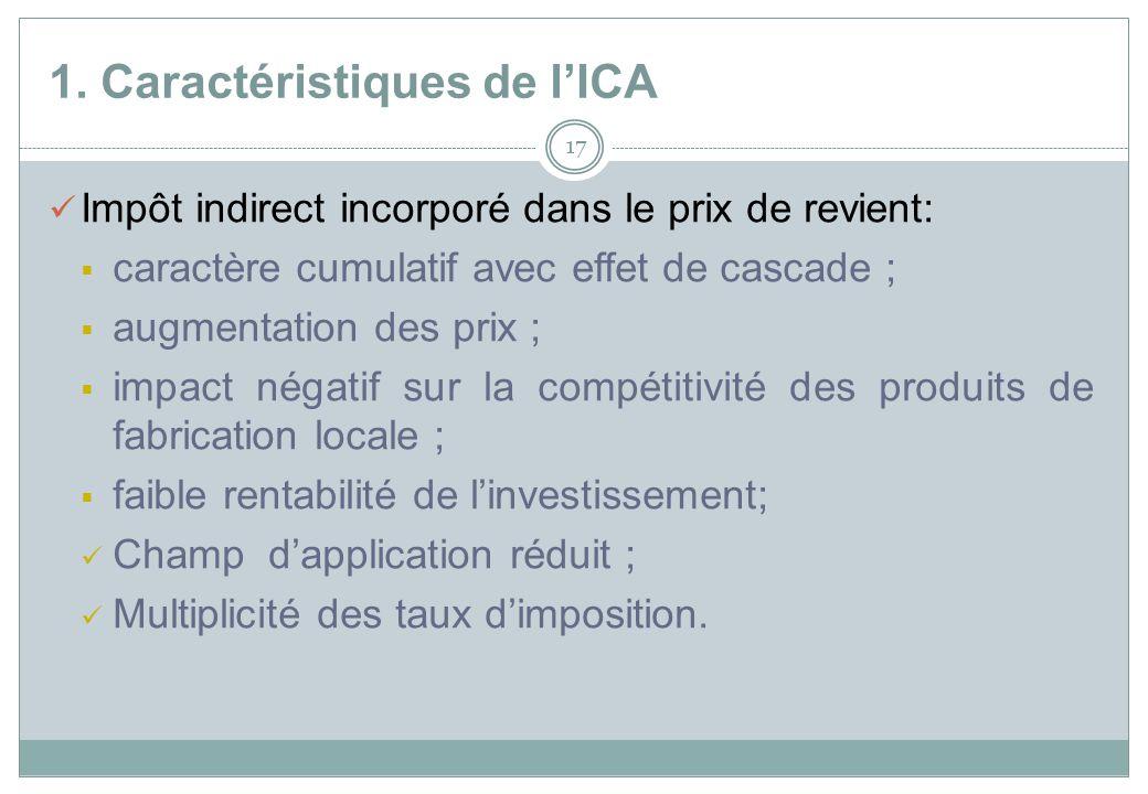 1. Caractéristiques de lICA 17 Impôt indirect incorporé dans le prix de revient: caractère cumulatif avec effet de cascade ; augmentation des prix ; i