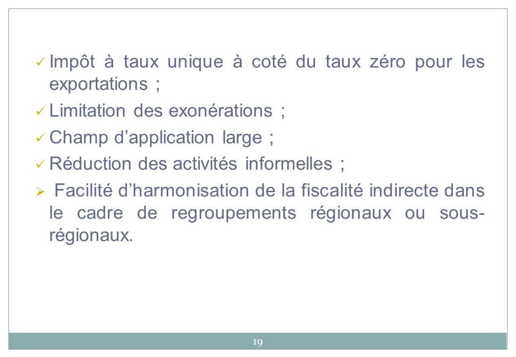 19 Impôt à taux unique à coté du taux zéro pour les exportations ; Limitation des exonérations ; Champ dapplication large ; Réduction des activités in
