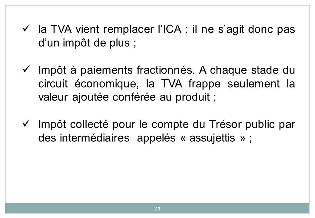 la TVA vient remplacer lICA : il ne sagit donc pas dun impôt de plus ; Impôt à paiements fractionnés. A chaque stade du circuit économique, la TVA fra
