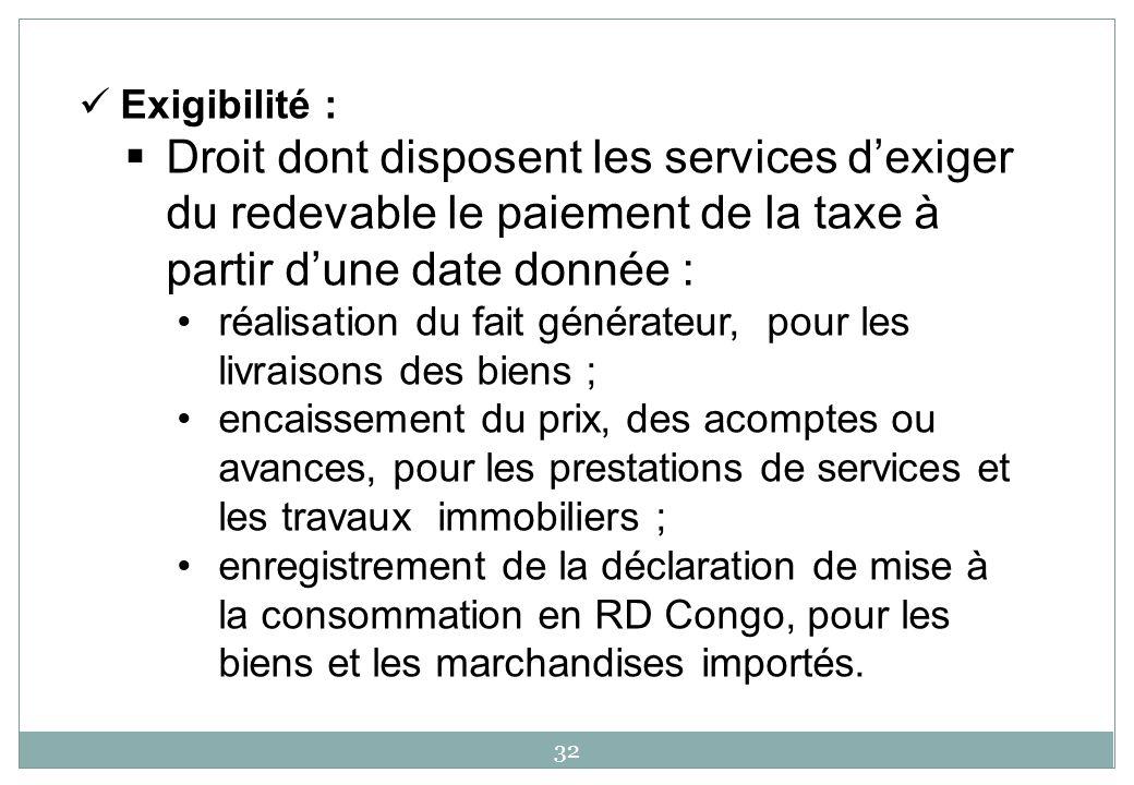 32 Exigibilité : Droit dont disposent les services dexiger du redevable le paiement de la taxe à partir dune date donnée : réalisation du fait générat
