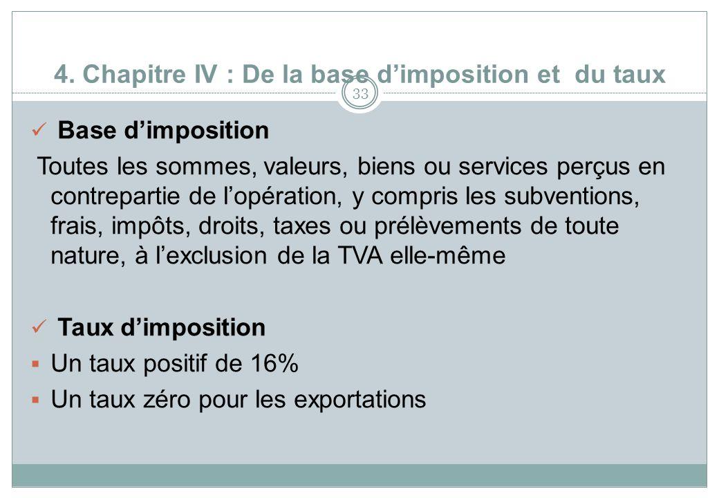 4. Chapitre IV : De la base dimposition et du taux 33 Base dimposition Toutes les sommes, valeurs, biens ou services perçus en contrepartie de lopérat