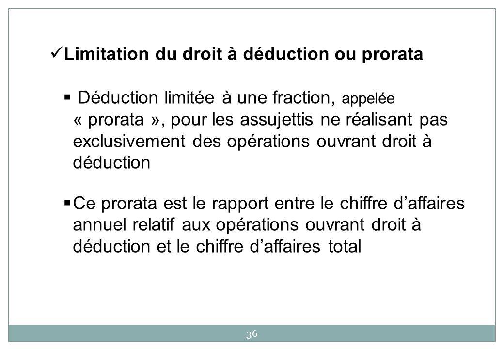 36 Limitation du droit à déduction ou prorata Déduction limitée à une fraction, appelée « prorata », pour les assujettis ne réalisant pas exclusivemen