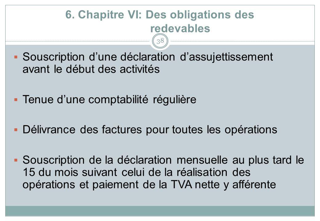 6. Chapitre VI: Des obligations des redevables 38 Souscription dune déclaration dassujettissement avant le début des activités Tenue dune comptabilité