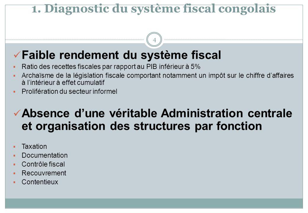 1. Diagnostic du système fiscal congolais 4 Faible rendement du système fiscal Ratio des recettes fiscales par rapport au PIB inférieur à 5% Archaïsme
