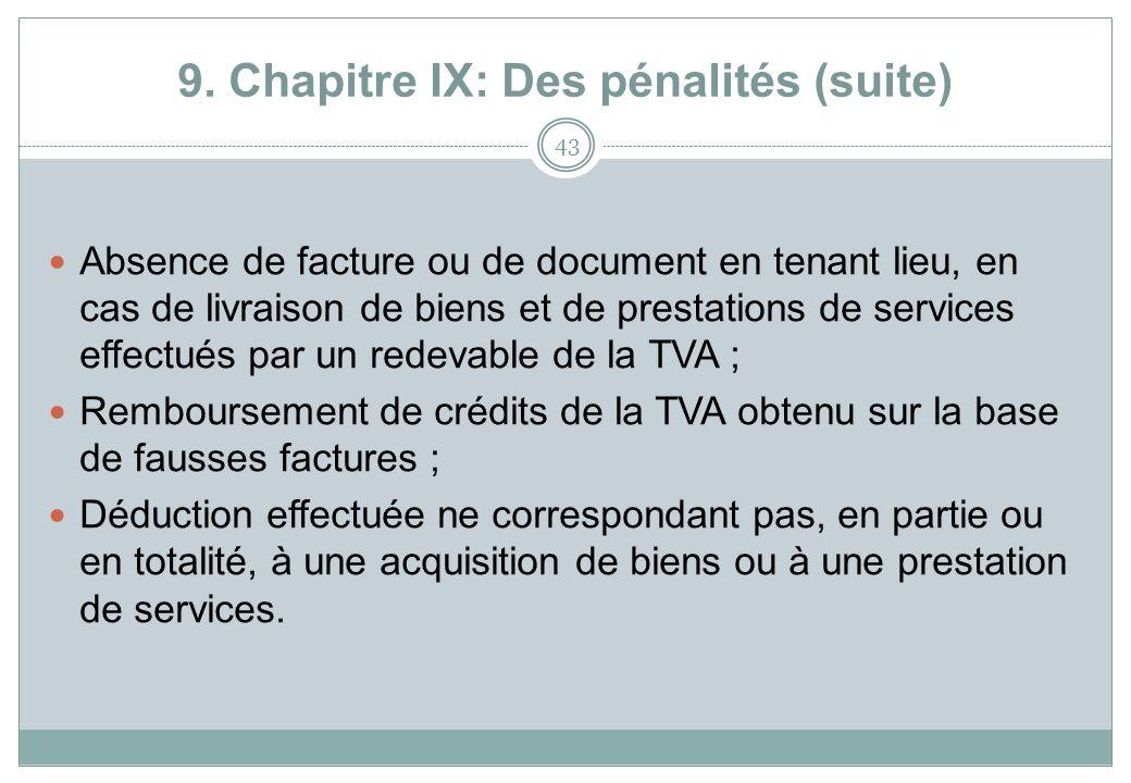 9. Chapitre IX: Des pénalités (suite) 43 Absence de facture ou de document en tenant lieu, en cas de livraison de biens et de prestations de services