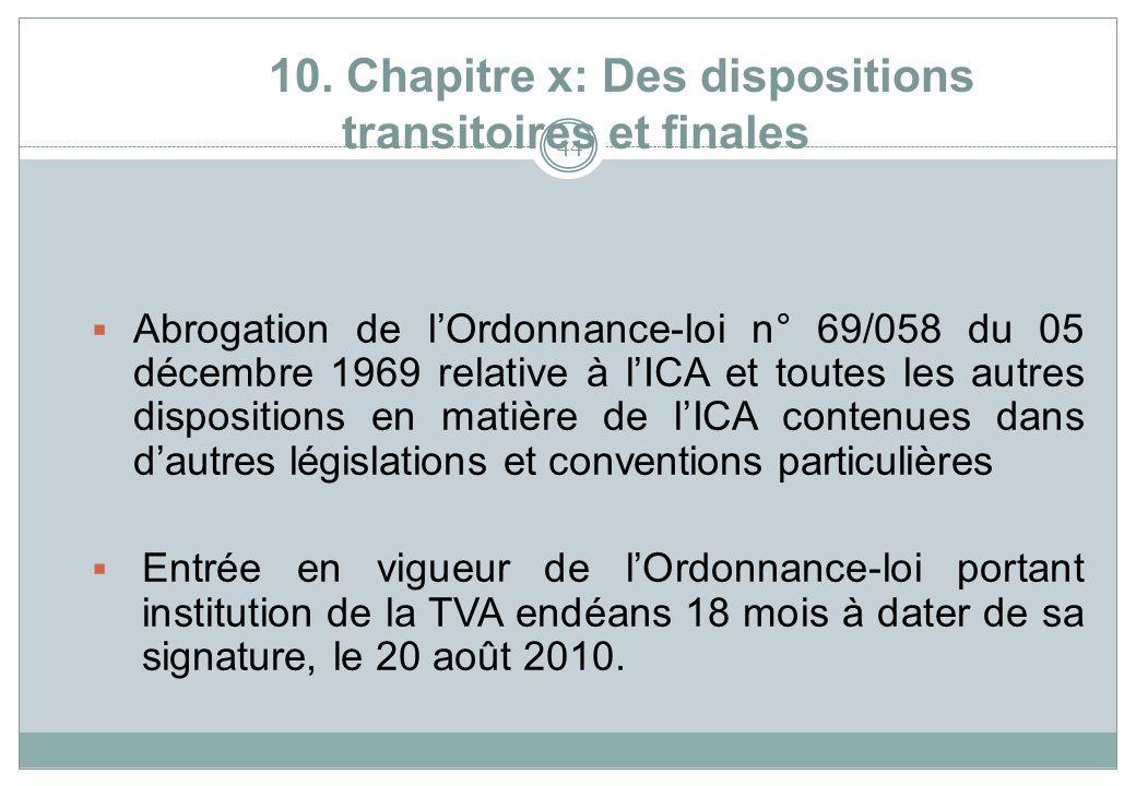 10. Chapitre x: Des dispositions transitoires et finales 44 Abrogation de lOrdonnance-loi n° 69/058 du 05 décembre 1969 relative à lICA et toutes les