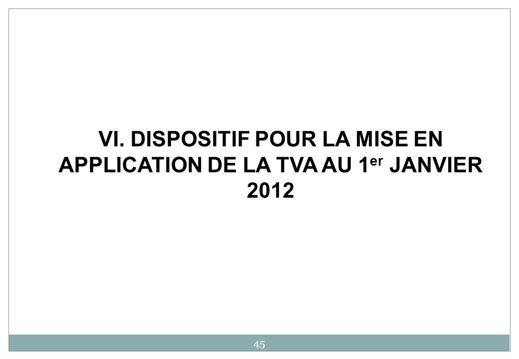 VI. DISPOSITIF POUR LA MISE EN APPLICATION DE LA TVA AU 1 er JANVIER 2012 45
