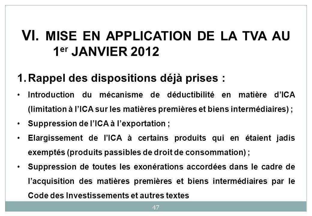 1.Rappel des dispositions déjà prises : Introduction du mécanisme de déductibilité en matière dICA (limitation à lICA sur les matières premières et bi