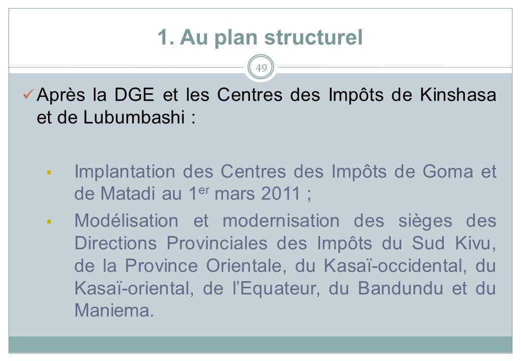 1. Au plan structurel 49 Après la DGE et les Centres des Impôts de Kinshasa et de Lubumbashi : Implantation des Centres des Impôts de Goma et de Matad