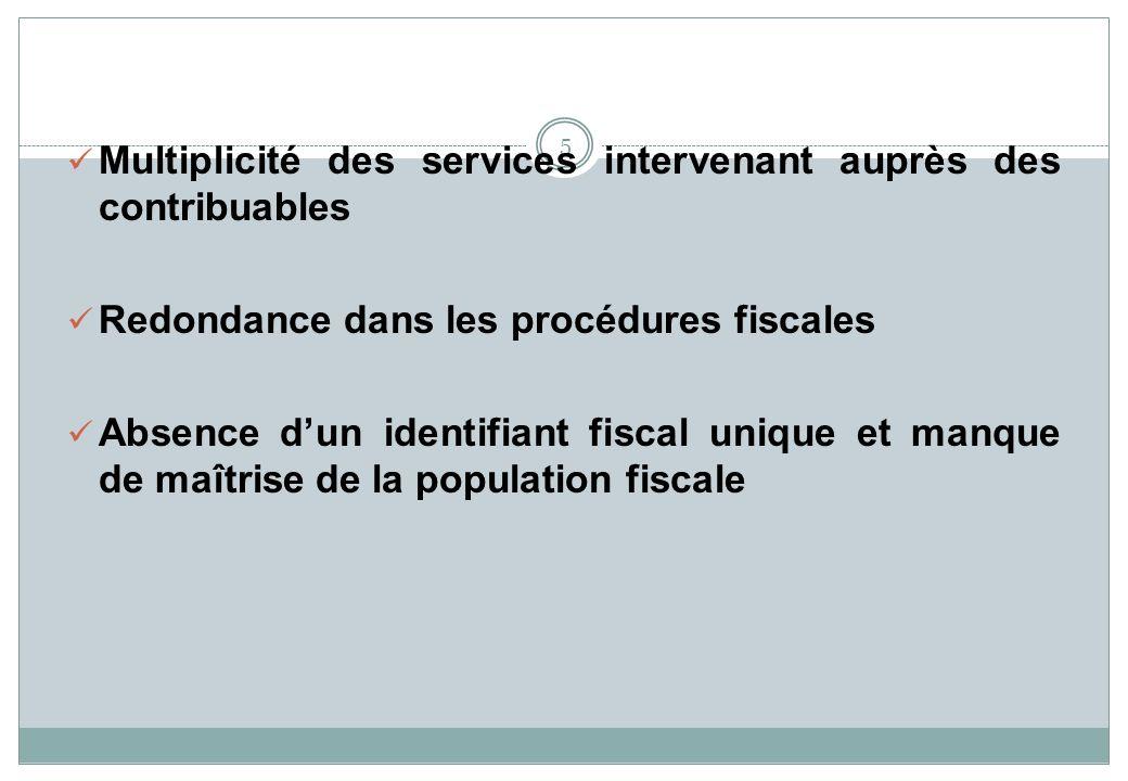 5 Multiplicité des services intervenant auprès des contribuables Redondance dans les procédures fiscales Absence dun identifiant fiscal unique et manq