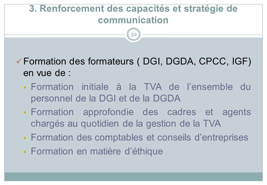 3. Renforcement des capacités et stratégie de communication 52 Formation des formateurs ( DGI, DGDA, CPCC, IGF) en vue de : Formation initiale à la TV