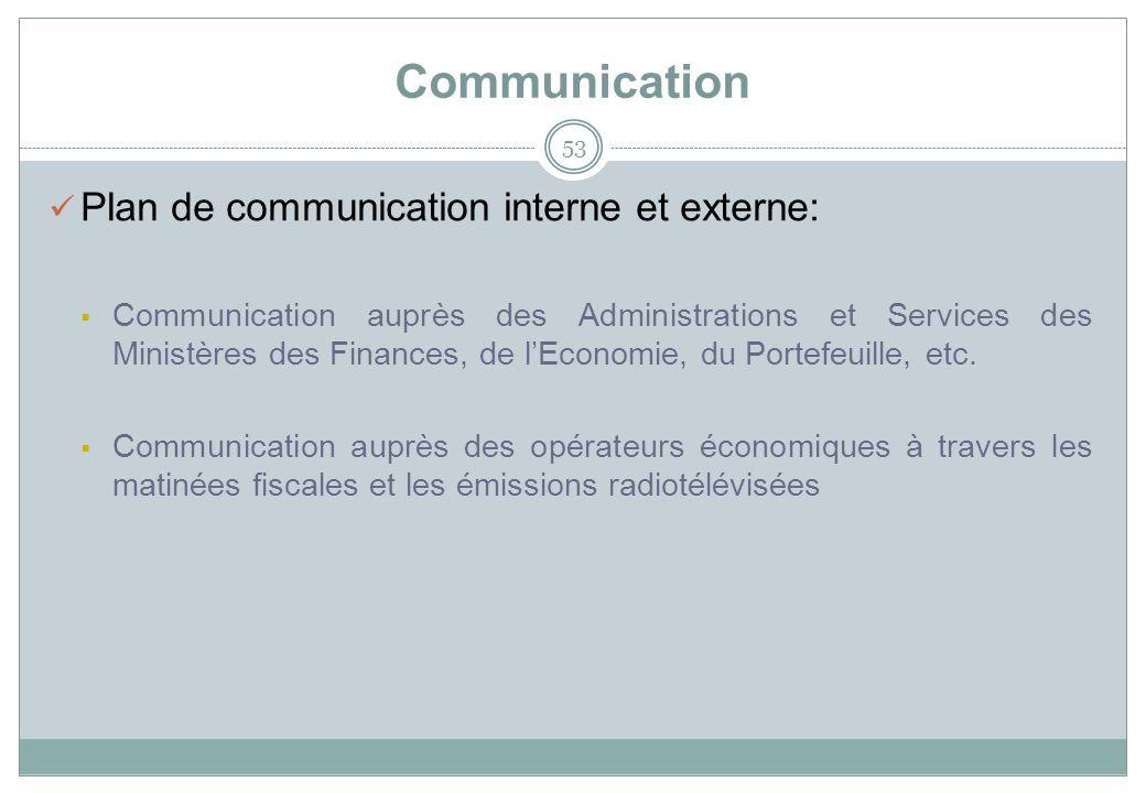 Communication 53 Plan de communication interne et externe: Communication auprès des Administrations et Services des Ministères des Finances, de lEconomie, du Portefeuille, etc.