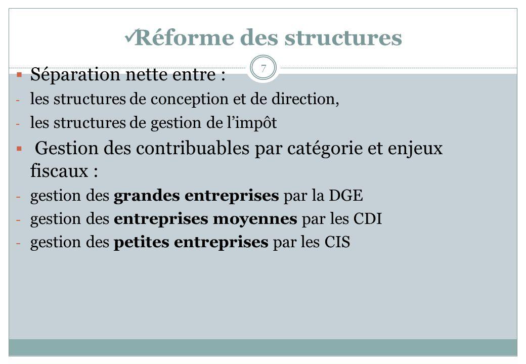 Réforme des structures 7 Séparation nette entre : - les structures de conception et de direction, - les structures de gestion de limpôt Gestion des co