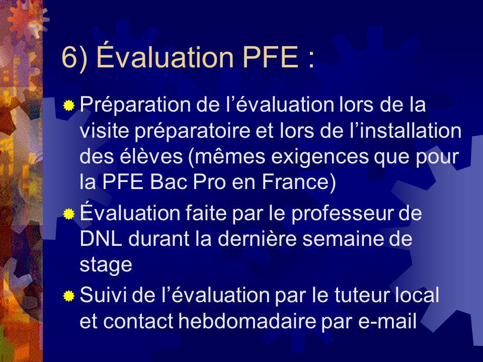 6) Évaluation PFE : Préparation de lévaluation lors de la visite préparatoire et lors de linstallation des élèves (mêmes exigences que pour la PFE Bac Pro en France) Évaluation faite par le professeur de DNL durant la dernière semaine de stage Suivi de lévaluation par le tuteur local et contact hebdomadaire par e-mail