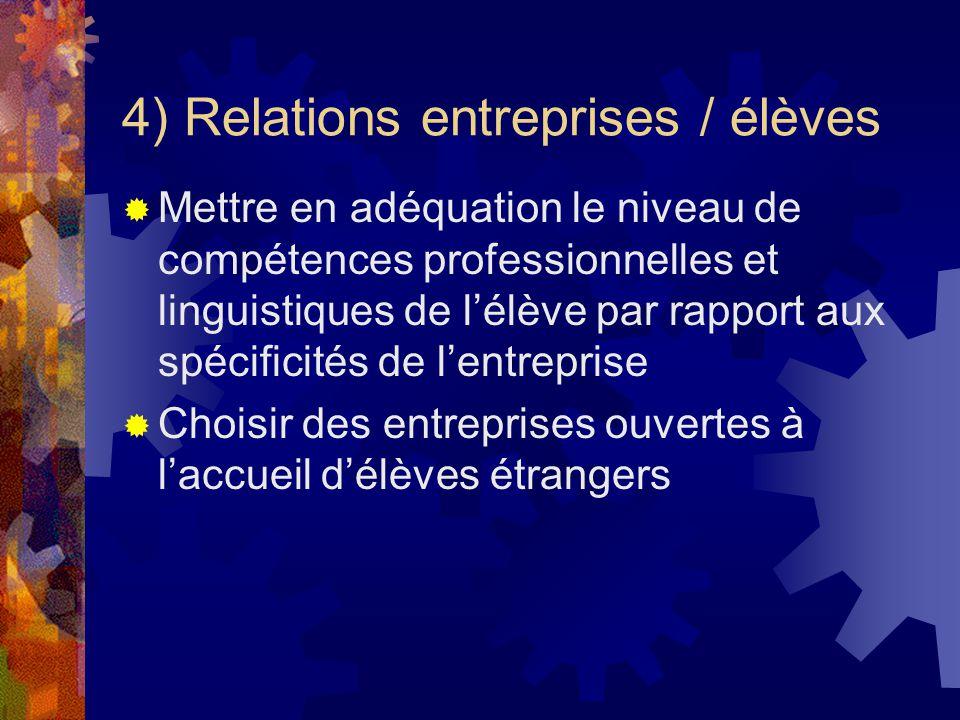 4) Relations entreprises / élèves Mettre en adéquation le niveau de compétences professionnelles et linguistiques de lélève par rapport aux spécificités de lentreprise Choisir des entreprises ouvertes à laccueil délèves étrangers