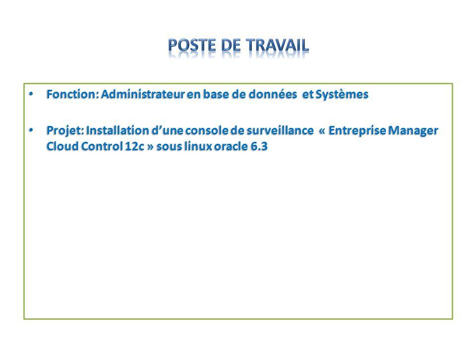 Fonction: Administrateur en base de données et Systèmes Fonction: Administrateur en base de données et Systèmes Projet: Installation dune console de s