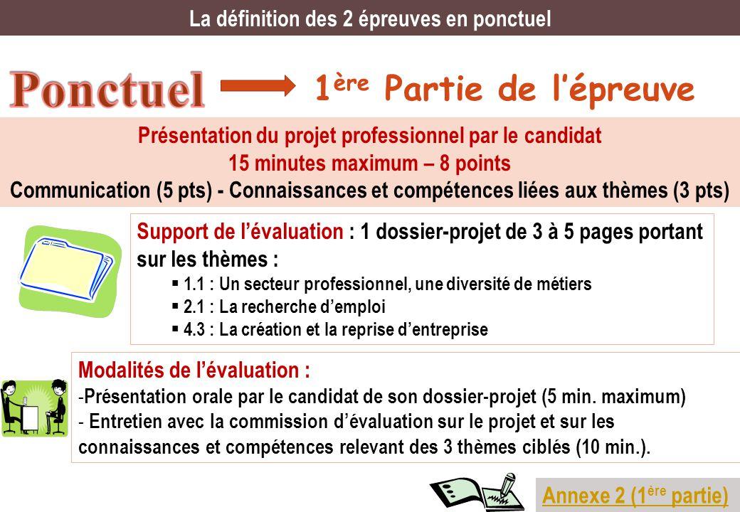1 ère Partie de lépreuve La définition des 2 épreuves en ponctuel Présentation du projet professionnel par le candidat 15 minutes maximum – 8 points C