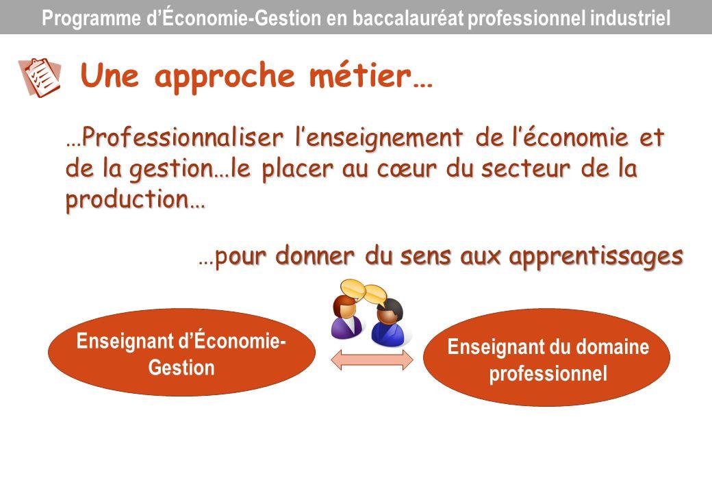 Une approche métier… Professionnaliser lenseignement de léconomie et de la gestion…le placer au cœur du secteur de la production… …Professionnaliser l