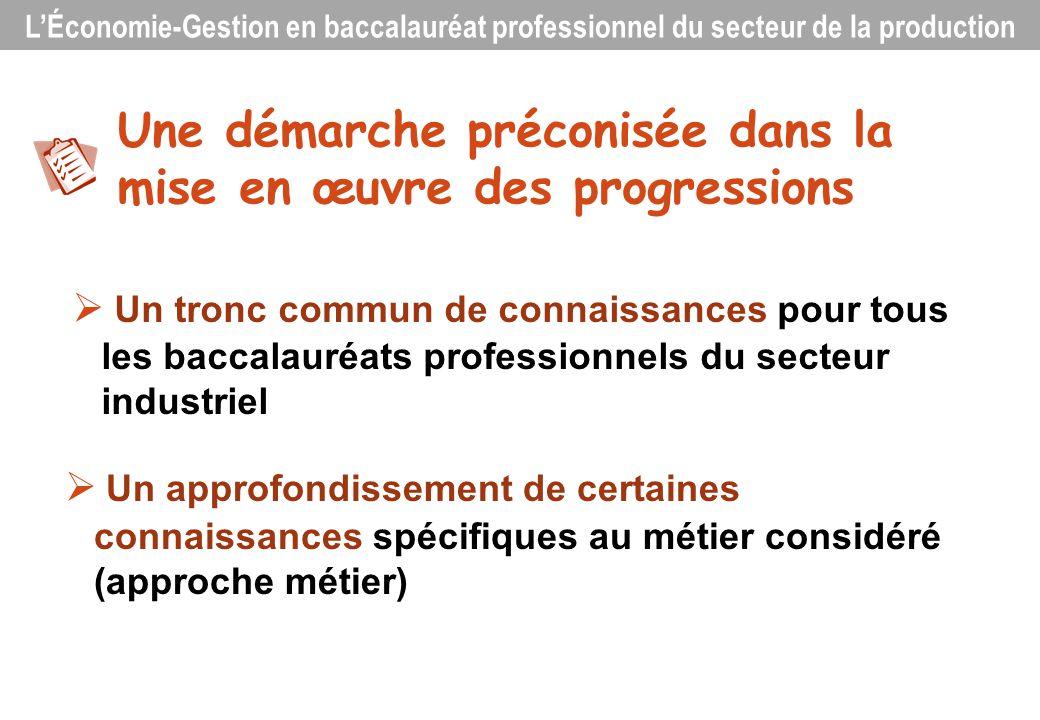 Un tronc commun de connaissances pour tous les baccalauréats professionnels du secteur industriel Une démarche préconisée dans la mise en œuvre des pr