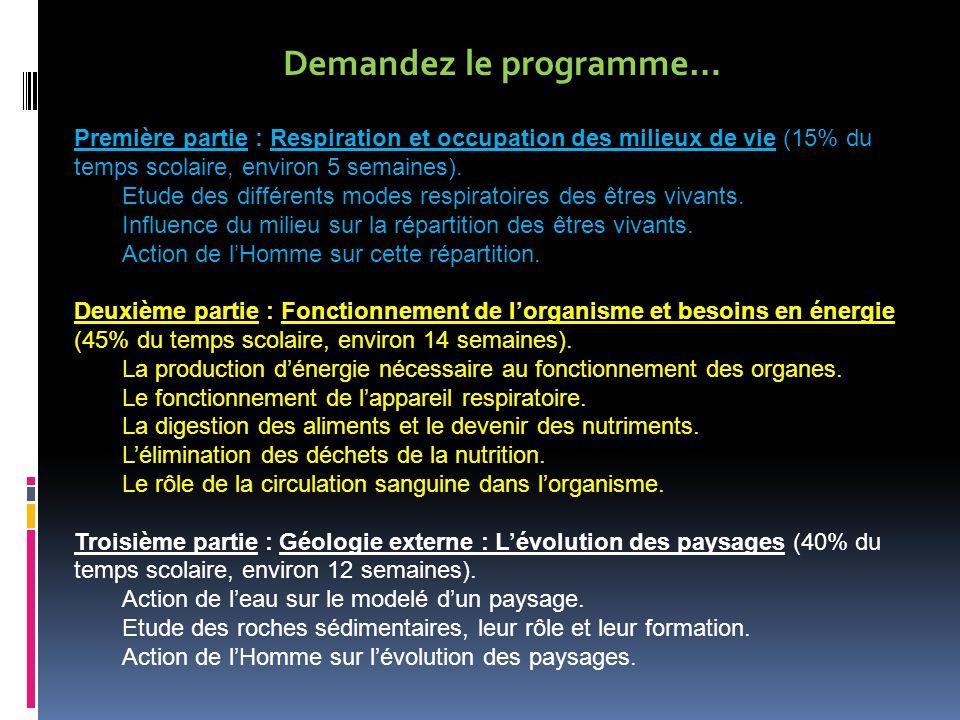 Demandez le programme… Première partie : Respiration et occupation des milieux de vie (15% du temps scolaire, environ 5 semaines).